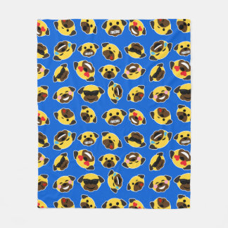 Emoji Pugs Electric Blue Fleece Blanket