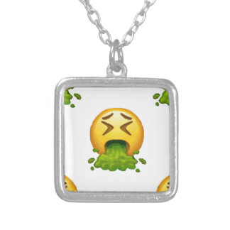 emoji puking silver plated necklace