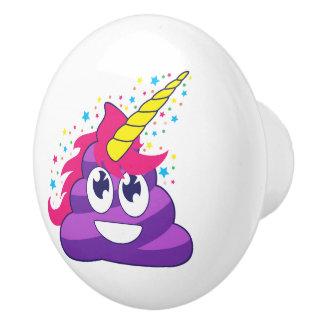 Emoji Purple Unicorn Poop Ceramic Knob