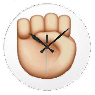 Emoji - Raised Fist Large Clock