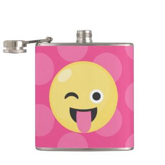 Emoji Silly Dots Hip Flask