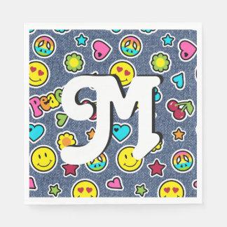 Emoji Smile Denim Girl Bday Party Napkins letter M Paper Napkins