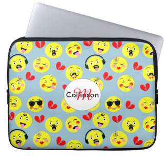Emoji Style Fun Cute Trendy Smiley Faces Laptop Sleeve