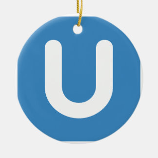 Emoji Twitter - Letter U Round Ceramic Ornament