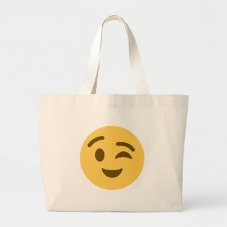 Emoji Wink Large Tote Bag