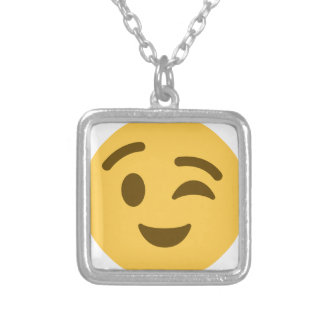Emoji Wink Silver Plated Necklace