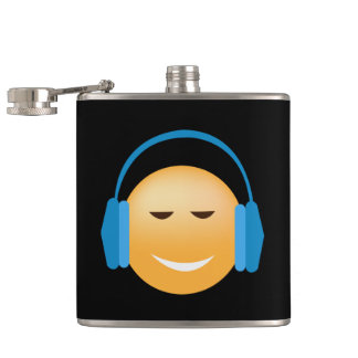 Emoji With Headphones Hip Flask