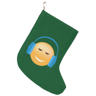 Emoji With Headphones Large Christmas Stocking