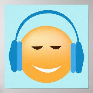 Emoji With Headphones Poster
