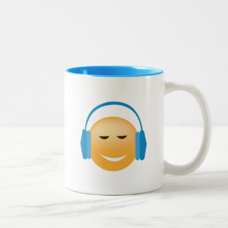 Emoji With Headphones Two-Tone Coffee Mug