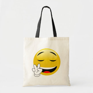 Emoji With Peace Sign Hands Tote Bag