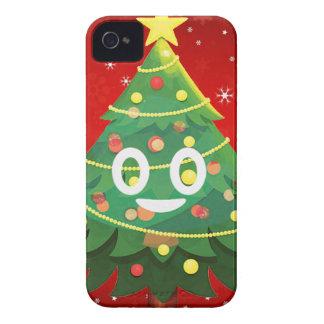 Emoji Xmas Tree Design iPhone 4 Cases