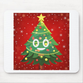 Emoji Xmas Tree Design Mouse Pad