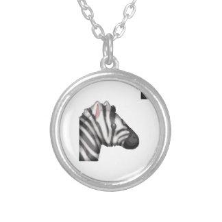 emoji zebra silver plated necklace