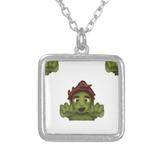emoji zombie man silver plated necklace
