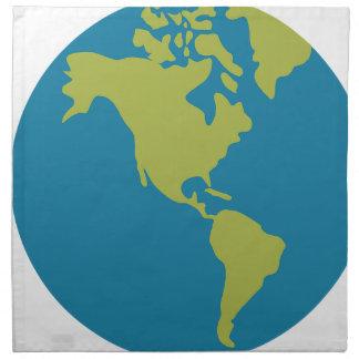 Emojis Planet Earth World Continents Designs Napkin