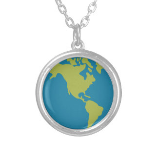 Emojis Planet Earth World Continents Designs Silver Plated Necklace