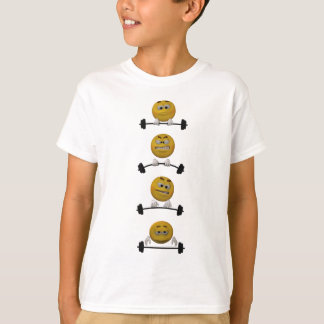 Emoticon lifting weights, cartoon style T-Shirt