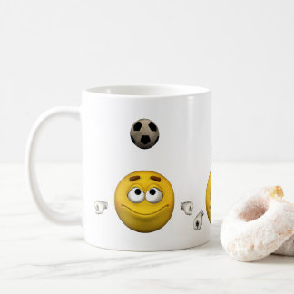 Emoticon plays football, cartoon style coffee mug