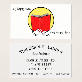 Emoticon reading a Book - Bookstore or Library Business Card