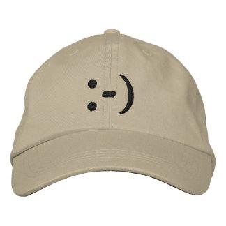 Emoticon, Smiley Face Embroidered Baseball Cap