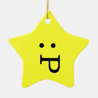 Emoticon Star Ornament - Tongue Sticking Out
