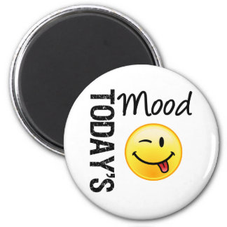 Émoticône d'aujourd'hui d'humeur espiègle magnet rond 8 cm