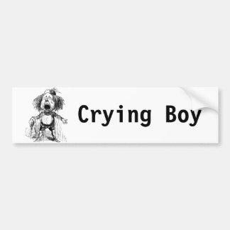 Emotional Crying Boy Funny Vintage Cartoon Drawing Bumper Sticker