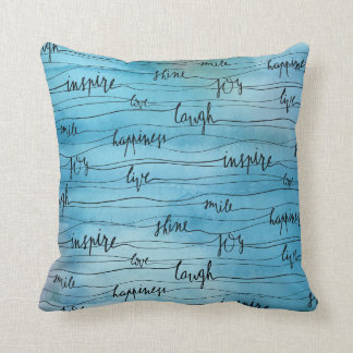 Emotional Inspirations on Blue Watercolor Throw Pillow