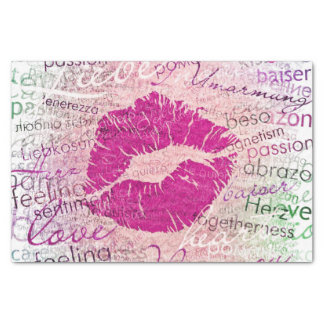 emotional kiss pink tissue paper