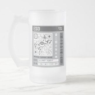 Emotional Support Device Grey Frosted Glass Beer Mug