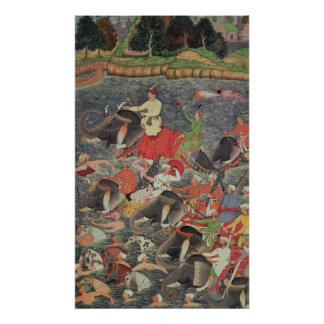 Emperor Akbar  crossing the River Ganges Poster
