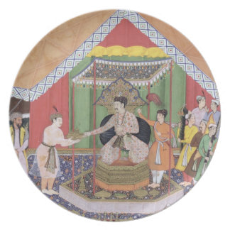 Emperor Akbar (r.1556-1605) entertained by his fos Dinner Plate