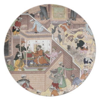Emperor Akbar (r.1556-1605) inspecting the buildin Party Plates