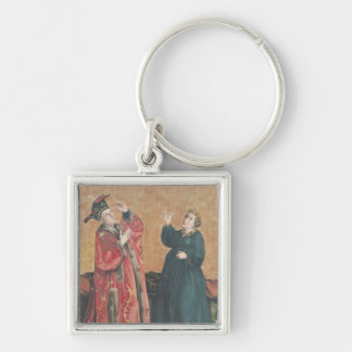 Emperor Augustus  and the Tiburtine Sibyl Silver-Colored Square Keychain