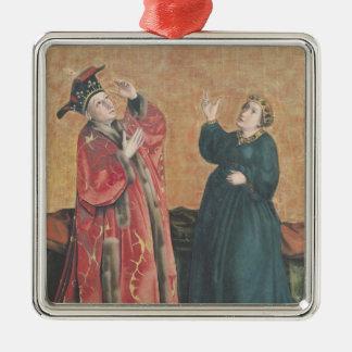 Emperor Augustus  and the Tiburtine Sibyl Silver-Colored Square Ornament