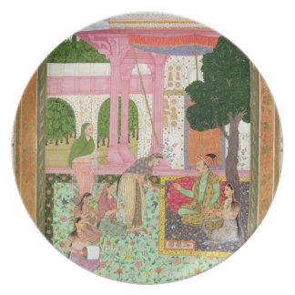 Emperor Jahangir (1569-1627) with his consort and Plate