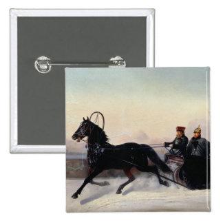 Emperor Nicholas I  Driving in a Sleigh 2 Inch Square Button