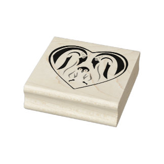 Emperor Penguin Family Love Heart Rubber Stamp