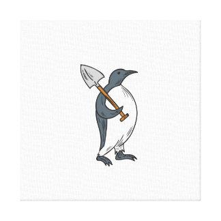 Emperor Penguin Holding Shovel Drawing Canvas Print