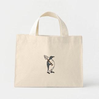 Emperor Penguin Holding Shovel Drawing Mini Tote Bag