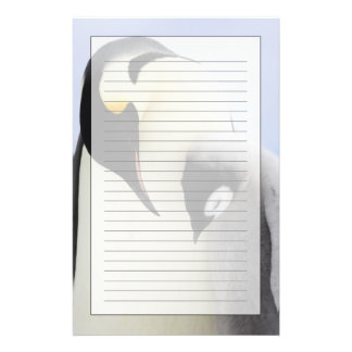 Emperor Penguin looking at chick Stationery Paper