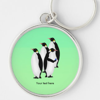 Emperor Penguin Online Line Silver-Colored Round Keychain