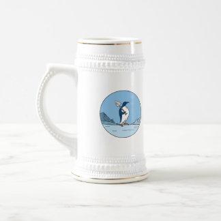 Emperor Penguin Shovel Antartica Circle Mono Line Beer Stein