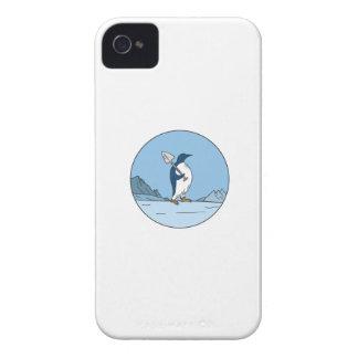 Emperor Penguin Shovel Antartica Circle Mono Line Case-Mate iPhone 4 Cases