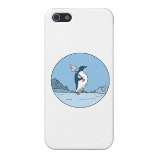 Emperor Penguin Shovel Antartica Circle Mono Line Cover For iPhone 5/5S