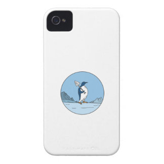 Emperor Penguin Shovel Antartica Circle Mono Line iPhone 4 Case-Mate Case
