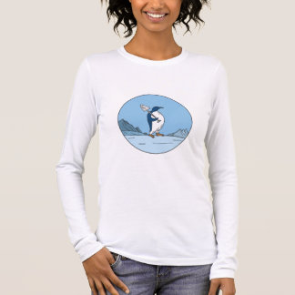 Emperor Penguin Shovel Antartica Circle Mono Line Long Sleeve T-Shirt
