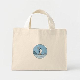 Emperor Penguin Shovel Antartica Circle Mono Line Mini Tote Bag