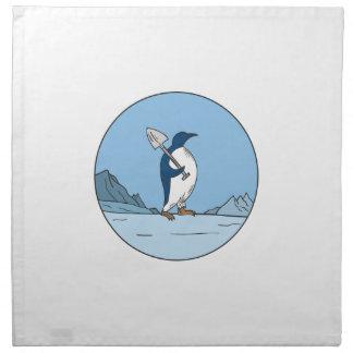 Emperor Penguin Shovel Antartica Circle Mono Line Napkin